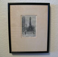 James Swann Signed Water Tower Chicago Landmark Etching 1905-1985 Listed