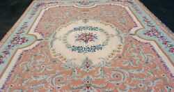 17and039 6 X 11and039 6 Hand Made Needlepoint Rug W/ Center Medallion And Roses Estate