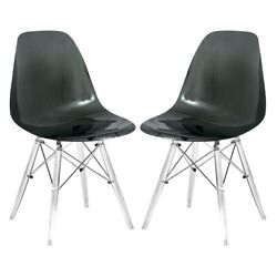 Leisuremod Dover Dining Side Chair With Acrylic Eiffel Base In Black Set Of 2