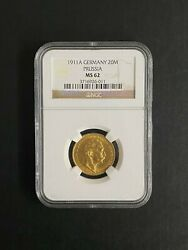1911 A Germany 20m Prussia Ms 62 Gold Coin