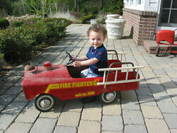 Vintage 1960s Red Amf Fire Fighter Unit No 508 Pedal Car W/ladders, Light, Bell