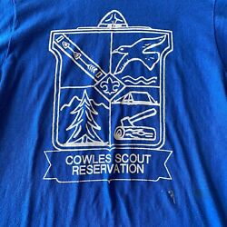 Vintage 80s Screen Stars Boy Scouts Blue T-shirt Cowles Scout Reservation Small