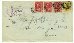 White Head N.b. Registered Admiral Cover 7c+3x2c To Maine Usa Canada Cover