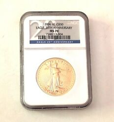 2006 West Point Gold 50 Eagle Coin Ngc Ms-70- 20th Anniversary