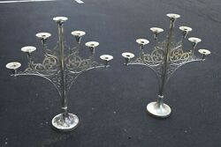 Older Antique Pair Of Silver Plated 7 Light Church Candelabra Sb112
