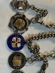 9ct Solid Gold And Sterling Silver 5 Heavy Winning Football Medals 1920s