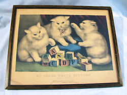 Original Antqique Currier And Ives Print - Three White Kittens