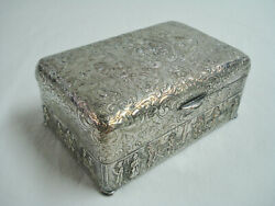 Eg Webster And Son Silver Plate Cigarette Box Embossed Repousse Dancing Wedding