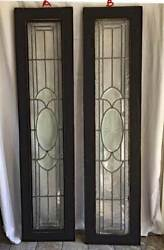 Antique Leaded Stained American Sidelight Windows / Transoms