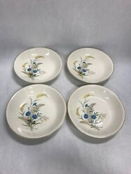 4 Bowls 8 In Bluebell Paden City Pottery Mid Century Modern Usa A56 Oven Proof