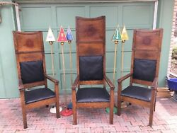Arts And Crafts Masonic Lodge Throne Chairs With 5 O.e Star Lamps