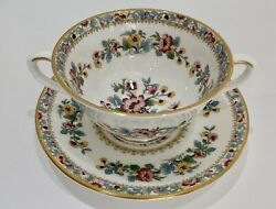Ming Rose Coalport Footed Cream Soup Bowl/cup With Handles And Saucer