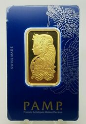 1 Ounce Pamp Suisse Lady Fortuna Fine Gold Bar 999.9 Certified C522254 In Assay