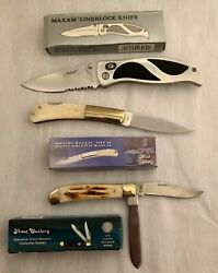 Knives Folding Lot Of 3 New Old Stock ,15 Yrs In Storage Assortment,pocket Carry
