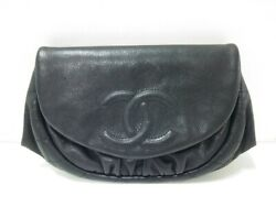 Auth CHANEL Half Moon Black Caviar Skin Other Style Wallet