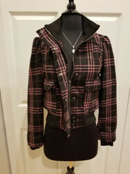 Cute Opening Act Black Pink Zip Plaid Bomber Style Juniors Jacket Coat Nwt S