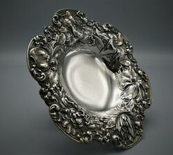 Antique Gorham For J.e. Caldwell Sterling Silver Repousse Compote C. 1869-1880