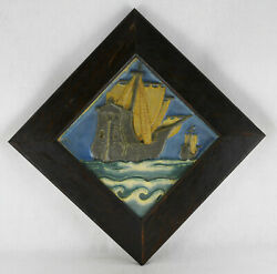 Rookwood Faience Tile Sailing Ships Frame 12 By 12tile 8 By 8