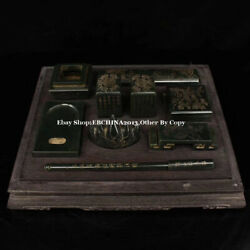 Collect Old China Green Jade Carved Ancient 9 Writing Implement Seal Wood Box