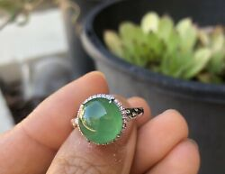 Genuine Certified Grade A Type A Natural Icy Green Jadeite Cabochon Diamond Ring