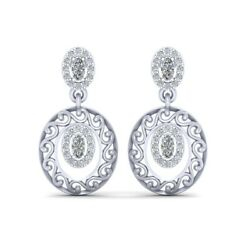 Solid 925 Sterling Silver 0.85ct Diamond Drop Dangle Earrings White Gold Jewelry