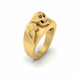 Wings Skull Band Solid Yellow Gold Skull Wedding Ring Unisex Halloween Jewelry