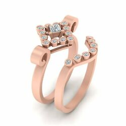 Classic Diamond Rings For Women Unique Engagement Ring Set 2pc Solid Rose Gold