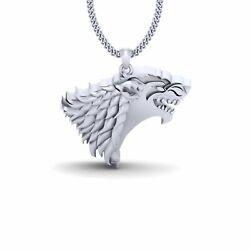 White Gold Got House Stark Necklace Game Of Thrones House Stark Pendant Jewelry