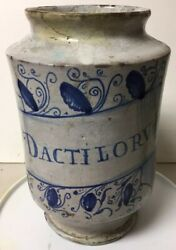 Lg. Early Antique Hand Painted Pottery Faience Apothecary Medicine Jar Dactilorv