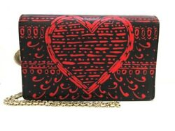 Auth ChristianDior Black Red Leather Other Style Wallet