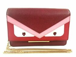 Auth FENDI Monster 8M0346-6DY Bordeaux Pink White Leather Other Style Wallet