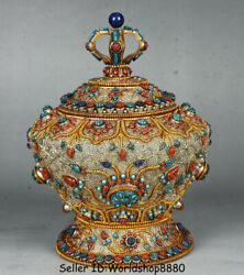 8.4 Old Tibet Buddhism Silver Wire Gilt Inlay Turquoise Coral Pot Jar Crock