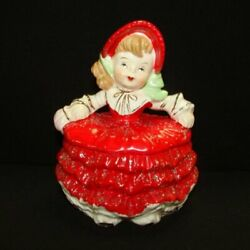 Rare Vintage Girl Powder Or Candy Box - Christmas Or Valentine's Day