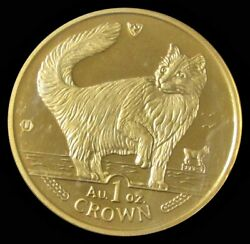 1991 Gold Isle Of Man 1oz Crown Norwegian Cat Choice Mint State Sealed