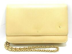Auth CHANEL Camellia Gold Leather & Hardware Other Style Wallet