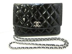 Auth CHANEL Matelasse Black Patent Leather Other Style Wallet