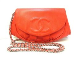 Auth CHANEL Half Moon A40033 Orange Caviar Skin Other Style Wallet