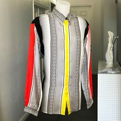 Gianni Versace Shirt Silk Optical Dots And Greek Key Size It 54 From Ss 1997