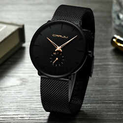 Menand039s Watch Relojes De Hombre Minimalist Ultra Thin Watches Stainless Steel