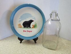 Vintage Oso Negro Mexico Vodka Round Tray And Gallon Bottle With Lid And Handle