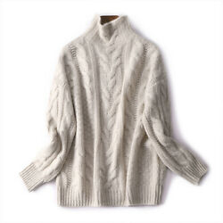 New Womens Spring Turtle Neck Baggy Tops Chunky Knitted Oversized Sweater Jumper