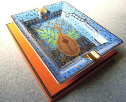 Hermes Porcelain Ashtray Plate Blue Tray Ornament Interior Auth New Unused Rare