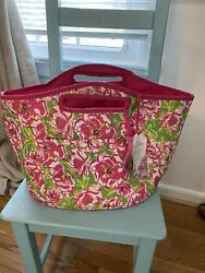NWT Lilly Pulitzer Insulated Beach Bag Cooler Beverage Bucket Hot Pink amp; Green $45.00