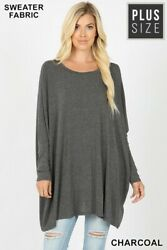 Oversized Plus 1x 2x 3x Many Colors Batwing Sleeves Knit Sweater/top/tunic Bhcs