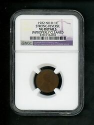 1922 No D Us Lincoln Wheat Cent 1c .01 Ngc Strong Reverse Vg Details Imp Cleaned