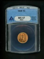 1939 Us Lincoln Wheat Cent 1c .01 Anacs Ms67 Red Choice Bright Gem No Spots