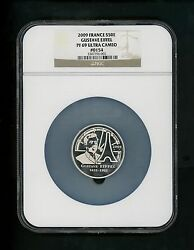 2009 France S50e Silver 50 Euro Gustave Eiffel Tower Ngc Pf69 Ultra Cameo Gem