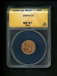 1939-d Us Lincoln Wheat Cent 1c .01 Anacs Ms67 Red Choice Example