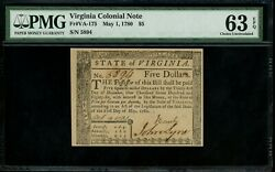Us Colonial Currency Virginia Note Fr Va-175 May 1 1780 5 Pmg 63 Epq Ch Unc