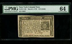 Us Colonial Currency New York Note Fr Ny-188 March 5, 1776 1/3 2s8d Pmg 64 Unc